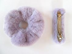 This is a highly kawaii pastel gift set of a furry scrunchie and a matching faux fur hair clip.