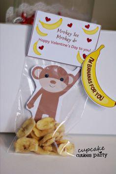 Monkey Love Valentine Card DIY Digital Valentine Craft Cupcake Cutiees Design