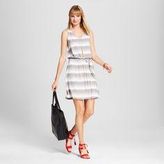 Women's Striped Tie Waist Tank Dress Grey Xxl - Merona, Gray #tankdress