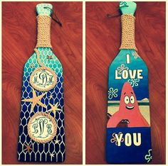 """Sorority Paddle hand painted with acrylics for my Big. Her monogram on top, mine below. Each starfish represents a member of our tree, since we are the beach tree.  We always quote SpongeBob, hence the """"I love you"""" meme!"""