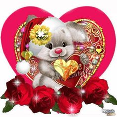 Thank you so much my dear friend Janette, this is lovely. Beautiful Love Pictures, Beautiful Gif, Beautiful Roses, Gif Bonito, Beau Gif, Bunny Images, Love You Gif, Animated Gifs, Glitter Images