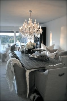 This is a beautiful dining room - love the choice of chairs!