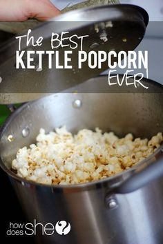 Hmmmm . . . I wonder how this could be done with less/no refined sugar? Seriously the BEST kettle popcorn EVER! You won't believe how easy this is, too. YUM!