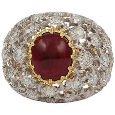 M.Buccellati Cabochon Ruby Diamond Ring | From a unique collection of vintage dome rings at http://www.1stdibs.com/jewelry/rings/dome-rings/