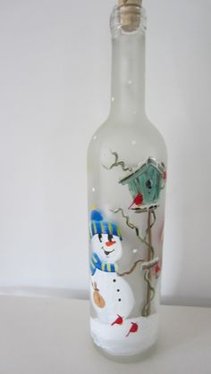Snowmen  Lighted  Frosted  Wine Bottle by EverythingPainted, $20.00