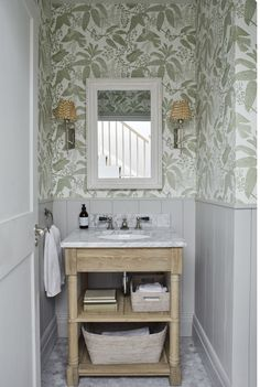 Sims Hilditch Parsons Green Townhouse bathroom with half wall paneling and . Bad Inspiration, Bathroom Inspiration, Bathroom Interior, Modern Bathroom, Dyi Bathroom, Bathroom Designs, Bathroom Green, Small Bathroom With Wallpaper, Wall Paper Bathroom