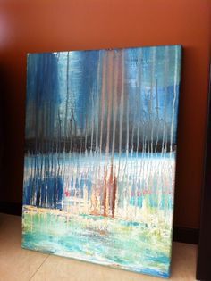 """Abstract Art """"Mexican Marina"""" Acrylic on Canvas 24"""" x 30"""" $200.00 Website:  www.facebook.com/fayes.art"""