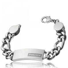 Bracelet acier Strip Police - Police Stainless Steel Strip, Trendy Bracelets, Style Grunge, Police Police, Piercings, Html, Silver, Stuff To Buy, Men