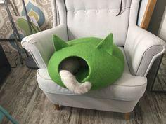 Валяный домик для кошки, дом для кошки, норка, цельноваляный дом, Cat bed, Cat cave, Cat house, Felted wool cat bed, handmade eco friendly pet bed, Cat, Cat lover gift, Cat Gift for cat love