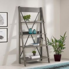 Welwick Designs Brown Solid Wood Ladder Bookshelf – The Home Depot – Farmhouse furniture 4 Shelf Bookcase, Ladder Bookshelf, Wood Ladder, Bookshelves, Shelf Wall, Grey Furniture, Farmhouse Furniture, Farmhouse Decor, Grey Wood
