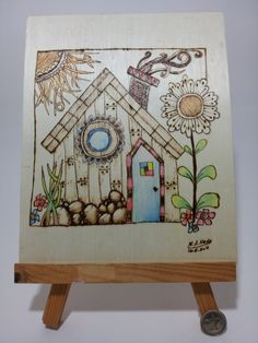 Two Colored Pyrography  Wood Burning Decorative by SmilingWood, $50.00
