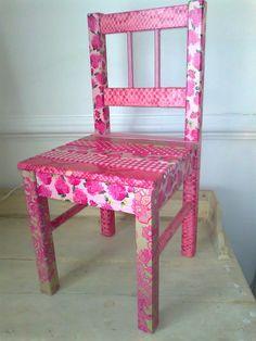 Love, love, love this! Decoupage chair