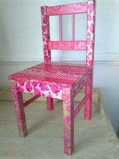 Love, love, love this! Decoupage chair