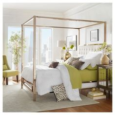 Solivita Champagne Gold Metal Canopy Bed with Horizontal Panel Headboard by iNSPIRE Q Bold (Queen Size - Off-White Linen) Metal Canopy Bed, Canopy Bed Frame, Panel Headboard, Metal Beds, Canopy Beds, Canopy Bedroom, White Canopy, King Size Canopy Bed, Modern Canopy Bed