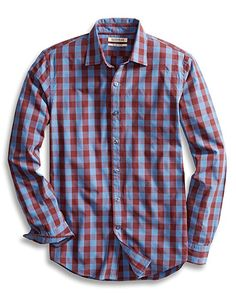 315229f3998 Men s Slim-Fit Long-Sleeve Large-Scale Check Shirt - Blue Burgundy -  Clothing
