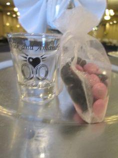 Shot glass favors #capriottiscatering #wedding #capriottispalazzo #weddingfavors