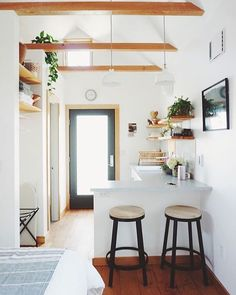 Shared from Mgucdreamlife.com love this tiny! Such a great feel! And I love that this one doesn't have a sleeping loft! Just dreamy!  #tinyhousemovement #tinyhouselife #openfloorplan #openconcept #interiordesign