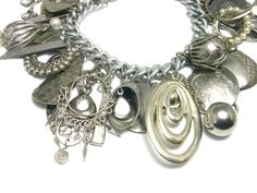 Silver Charm Bracelet vintage silver charms by LizonesJewelry, $58.00