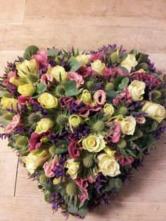 Closed Heart Sympathy Arrangement with roses, thistle and eustoma! Casket Flowers, Grave Flowers, Altar Flowers, Funeral Flowers, Large Flower Arrangements, Funeral Flower Arrangements, Flower Centerpieces, Flower Decorations, Funeral Sprays