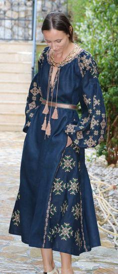 Navy Vita Kin style linen vyshyvanka linen MIDI dress tan…
