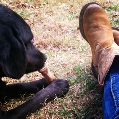 Me and my lab!  They have to have something in their mouth all the time!