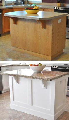 Kitchen Island Makeover, Stools For Kitchen Island, Kitchen Redo, New Kitchen, Kitchen Remodel, Kitchen Design, Kitchen Pics, Painted Kitchen Island, Kitchen Island Remodel Ideas