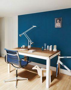peppermags interior danish loft in tribeca blue office wall blue office walls