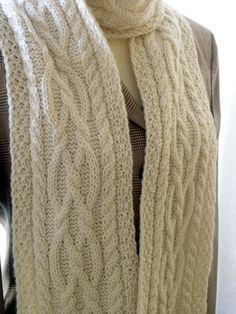 hand knitted aran scarf by KnittedStories on Etsy. $98.00 USD, via Etsy.