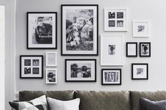 51 Stunning Living Room Wall Gallery Design Ideas - ROUNDECOR,Stunning living room wall gallery design ideas 22 - Round Decor Immortalize Your Memories with Frame Designs Nowadays, taking photos is now quite prac. Photowall Ideas, Gallery Wall Frames, Black Frames On Wall, Black Photo Frames, Gallery Walls, Gallery Wall Layout, Black And White Frames, Black White, White Art