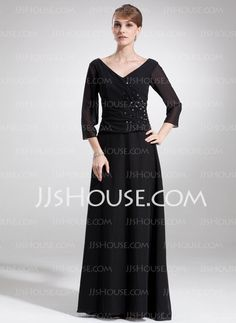 Mother of the Bride Dresses - $134.99 - A-Line/Princess V-neck Floor-Length Chiffon  Charmeuse Mother of the Bride Dresses With Beading (008006180) http://jjshouse.com/A-Line-Princess-V-Neck-Floor-Length-Chiffon-Charmeuse-Mother-Of-The-Bride-Dresses-With-Beading-008006180-g6180