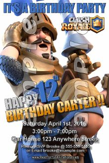 CLASH ROYALE 4X6 INVITATIONS WITH ENVELOPES
