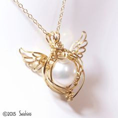 Little Angel pendant 【14 gold GF wire & chain · original series original】 ~ freshwater pearl - natural stone · healing miscellaneous goods · wire accessories ATLANTIAN