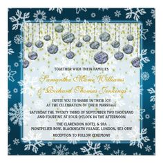 Christmas Wedding Snowflakes & Baubles Gold & Blue