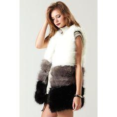 Storets Triple Luck Faux Fur Vest (£100) ❤ liked on Polyvore featuring outerwear, vests, fake fur vest, white vest, vest waistcoat, white faux fur vest and white waistcoat
