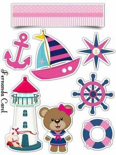 Osita Marinerita: Toppers para Tartas, Bizcochos o Pasteles para Imprimir Gratis. Disney Cake Toppers, Cake Templates, Diy And Crafts, Paper Crafts, Bear Girl, Baby Clip Art, Baby Sewing Projects, School Decorations, Nautical Theme