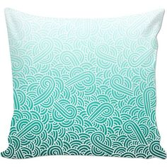 Ombre turquoise blue and white swirls doodles Couch Pillow (53 BAM) ❤ liked on Polyvore featuring home, home decor, throw pillows, pillow, geometric home decor, geometric pattern throw pillows, graphic throw pillows, patterned throw pillows and turquoise throw pillows