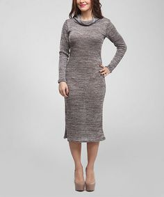 Another great find on #zulily! Brown & Silver Space-Dye Cowl Neck Dress - Women by BOLD & BEAUTIFUL #zulilyfinds