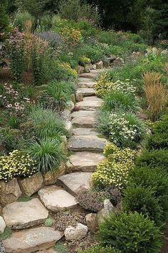 Prairie garden rock garden hillside stairs