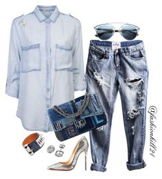 """""""I Got the Blues"""" by fashionkill21 ❤ liked on Polyvore featuring Chanel, Christian Louboutin, Christian Dior and Hermès"""