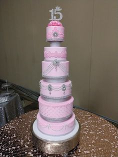 La Quinceanera Cake in Pink with Lavish Bling. 803-386-8806 Info@VintageBakery.com