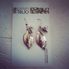 Karen Telio Sterling Silver Leaf Hanging Earrings $60
