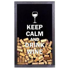 Quadro Porta-Rolhas Keep Calm And Drink Wine | Fábrica9