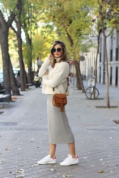 Skirt: knitted midi grey sweater white sweater long sleeves bag shoulder bag brown bag sunglasses
