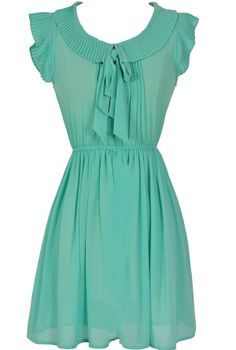 Pleated Collar Semi-Sheer Bow Neck Dress in Sea Green  www.lilyboutique.com