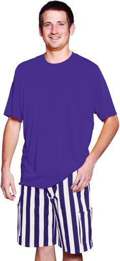 Purple and White Game Bib Striped Cargo Pants