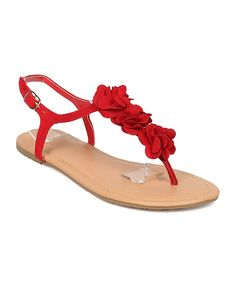 Alrisco Women Petals Decor Flat Sandal - T-Strap Sandal - Floral Decor Sandal - HA70 by Wild Diva Lounge Collection *** Find out more about the great product at the image link. (This is an affiliate link) #womensandle #sandalsflat