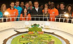 Plans: Danny Boyle, centre, with his model of the Olympic Opening Ceremony that will transform the stadium into a British country idyll London Olympics Opening Ceremony, London Olympic Games, Olympic Flame, 2012 Summer Olympics, British Countryside, Latest Sports News, London Photos, The Guardian, How To Plan