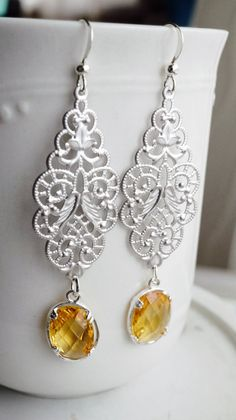 Earrings silver filigree and yellow crystal by VerdigrisGifts