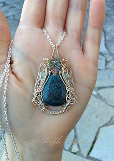 Chrysocolla wire wrapped pendant wire wrapped by WiredWithDesire