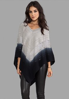 LISA MAREE Days End Crochet Hooded Poncho in Acid Black Ombre.inspiration